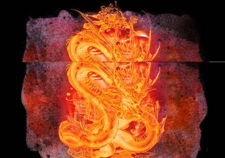 Abstract artistic unique rendering illustration of a fiery dragon on a black background 版權商用圖片