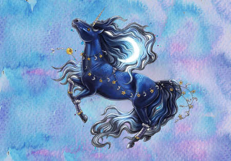 Abstract artistic rendering illustration of a unique cosmic watercolor stallion horse on a multicolored background Banque d'images - 132552775