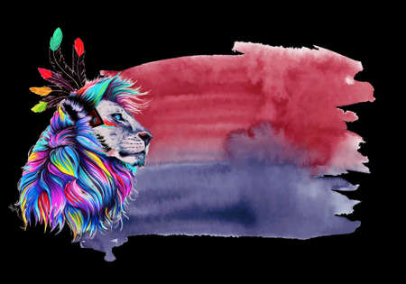 Abstract artistic rendering illustration of a tropical multicolored lion of a colorful space for a text on a black background Banco de Imagens