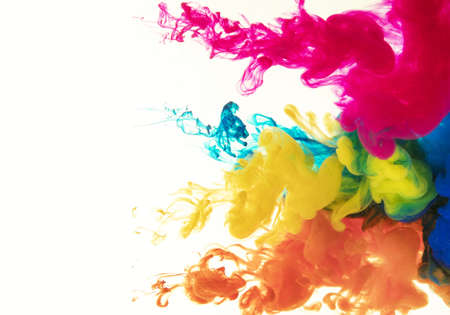 Abstract artistic rendering illustration of a cloud of colorful ink swirling in white background as a unique artwork. Zdjęcie Seryjne