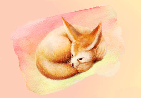 Artistic abstract rendering illustration of a fox on a unique watercolor artwork