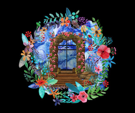 Artistic rendering illustration of a tropical gate to other dimension with butterflies and flowers on a black background