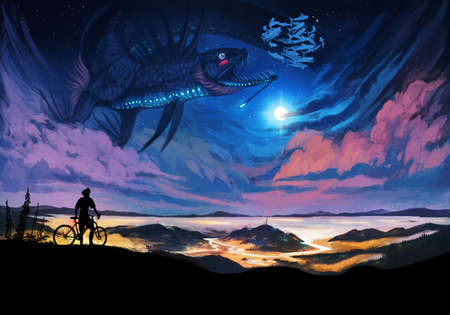 Abstract drawing of a man on a bicycle on top of a mountain watching a beautiful creature swimming in a colorful nebula sky artwork Banque d'images - 132552795