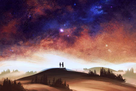 Abstract rendering illustration of two men exploring the desert with a beautiful galactic starry sky on top Banque d'images - 132552797
