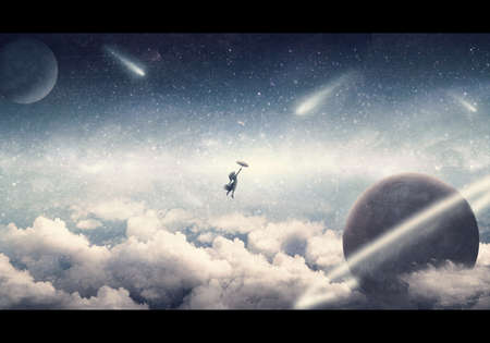 Abstract artistic illustration of a woman holding an umbrella falling from a starry sky into a cloudy storm with a planet crashing into it