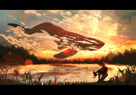 Abstract digital drawing rendering illustration of a woman holding a cat on a lake with a big whale is jumping into it Stock fotó