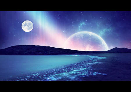 Artistic abstract rendering illustration of a beach view in a colorful nebula sky with a full moon Imagens