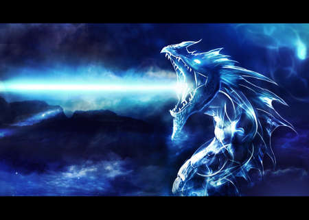 Artistic digital paint of a blue angry dragon firing energy as a unique powerful artwork Banque d'images - 131616802