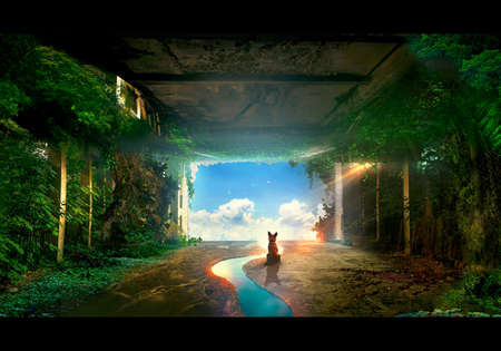 Artistic illustration of a dog inside a closed building filled with trees looking at the sky Banque d'images - 132552828