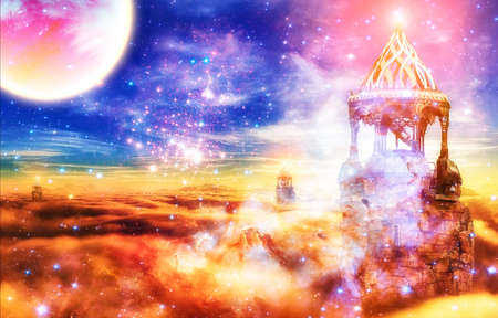 Abstract artistic illustration of a magical castle surrounded by energy and a full moon Banque d'images - 131609793