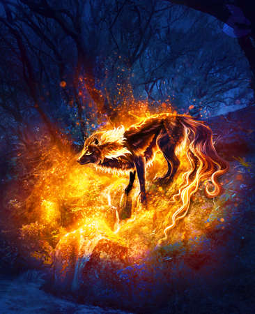 Abstract artistic digital paint of a fiery wolf in an isolated land as a unique artwork Stok Fotoğraf
