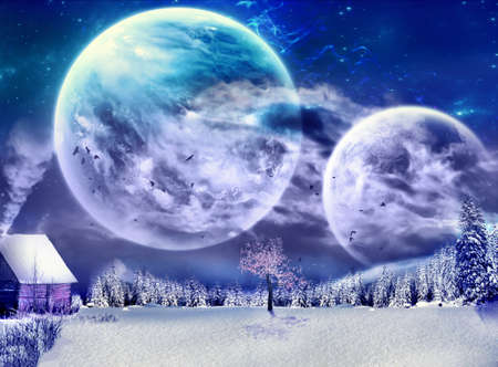 Abstract illustration of a cold city in arctic with two big bright moons