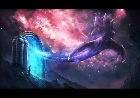 Artistic illustration of a dragon getting out of a gate from another dimension