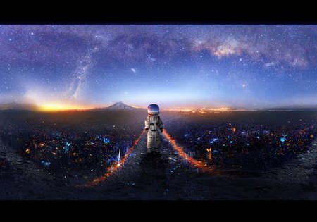 Artistic illustration of an astronaut exploring new other dimensional world filled with bright flies and mountains