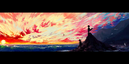 Abstract artistic panorama illustration of two warriors on top of a hill surrounded by sea in a colorful cloudy sky