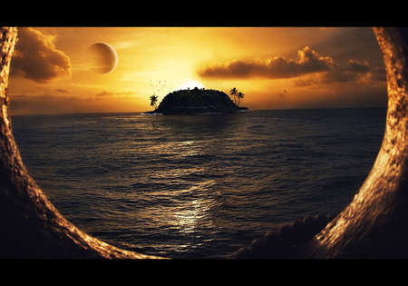 Artistic illustration of an isolated tropical island in the sea from a ship horizon with a bright sunset filled with clouds and other planets