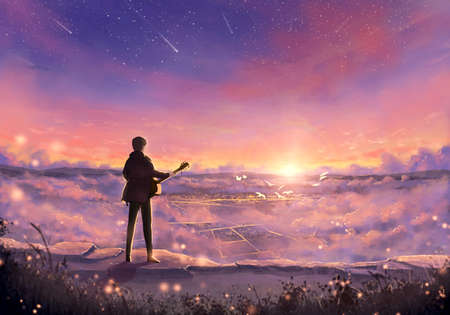 Abstract Illustration of a musician with a guitar on top of a mountain looking at the sunrise Banque d'images - 131609159