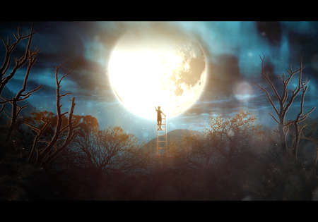 Artistic illustration of a boy on a ladder in the middle of a forrest reaching the bright glowing moon
