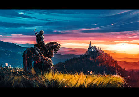 Artistic Illustration Of a man on horse in a bright colorful field of grass going to a castle on top of hill Stock fotó