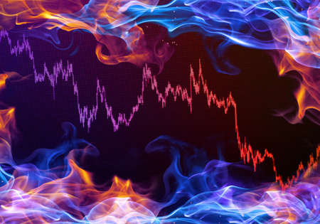Abstract Illustration Of A Multicolored Stock Prices Market Chart On A Colorful Smoky Background