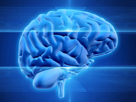 Abstract modern design of a human brain on blue background with an area for text Banque d'images - 134361311