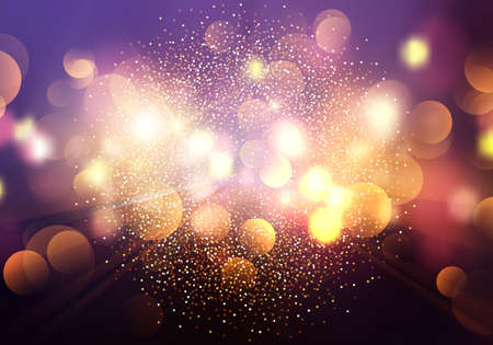 Abstract Christmas and Happy new year on blurred golden bokeh with snowfall banner background Banque d'images - 134361314