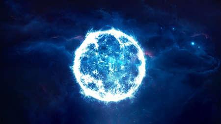 Abstract 3d rendering illustration of a blue small star going supernova Reklamní fotografie