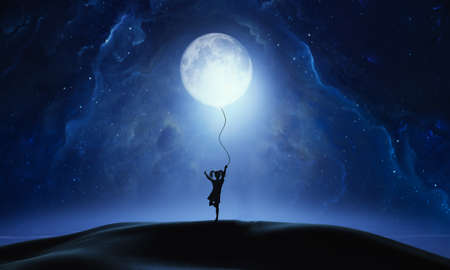 Abstract artistic 3d rendering illustration of a fantasy of a young girl pulling down the moon from the sky