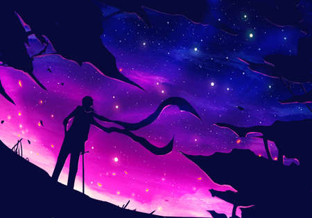 Artistic digital paint illustration of a warrior wearing a scarf and holding his sword looking at a colorful sky Reklamní fotografie - 138038756