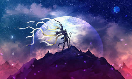 Artistic digital paint illustration of a warrior on top of a mountain in a windy storm with a full moon ahead Reklamní fotografie - 138038763