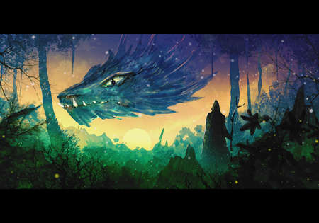 Abstract artistic digital drawing of a warrior facing a dragon in a forest Reklamní fotografie