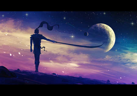 Artistic digital paint illustration of a warrior wearing a scarf standing in the wind looking at a colorful sky with a bright moon in it Reklamní fotografie - 138038771