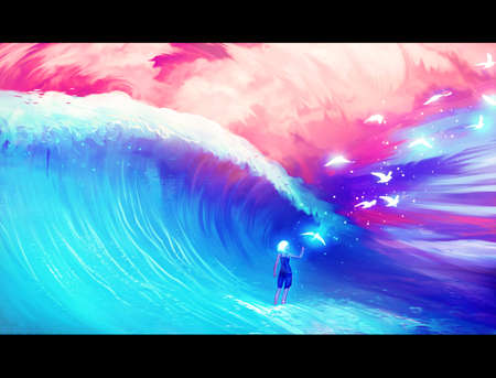 Abstract rendering illustration of a powerful woman facing a wave while letting doves away Stockfoto