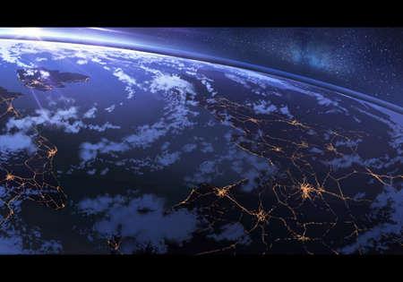 Abstract digital paint illustration of earth horizon