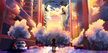 Abstract artistic rendering illustration of man watching a storm hitting a city and creating accidents Stock fotó