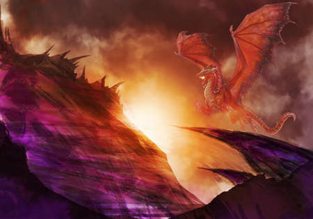 Artistic Illustration Of A Dragon Above A Hill