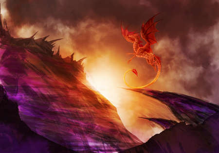 Abstract Illustration Of A Dragon Above A Hill