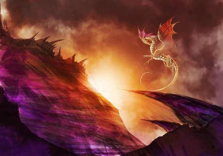 Unique Artistic Illustration Of A Dragon Above A Hill