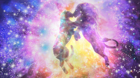 Abstract 3d illustration of a galaxy art of two lions kissing Banco de Imagens