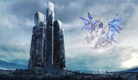Artistic Illustration Of A Dragon Attacking A Modern Bulding In An Empty Field Imagens