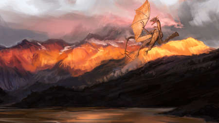Artistic Illustration Of An Angry Dragon Flying Above Hills