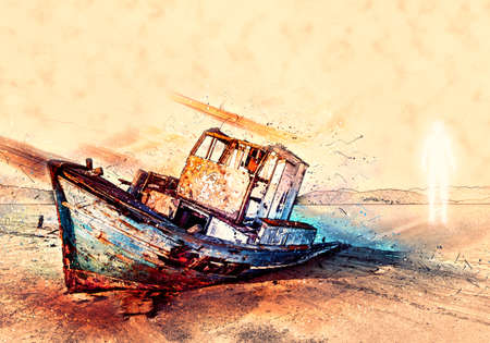 Concept Art Realistic 3d Rendering Illustration Of A Bright Ghost Besides A Wrecked Boat