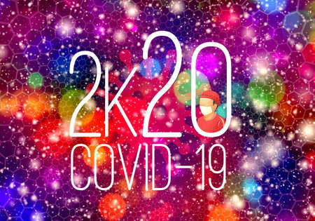 Abstract 3d rendering illustration of a 2020 Covid 19 coronavirus background