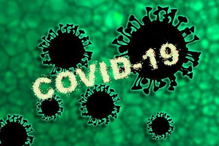 Abstract 3d rendering illustration of a black clip art covid 19 coronavirus disease