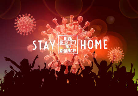 Abstract 3d rendering illustration of people celebrating a stay at home challenge