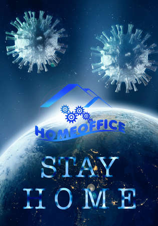Abstract 3d rendering illustration for stay and work from home because of Coronavirus