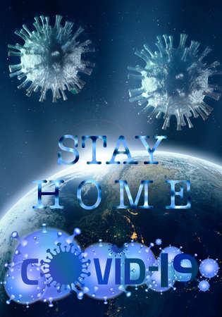 Abstract 3d rendering illustration for stay at home during Epidemic of the COVID-19 disease