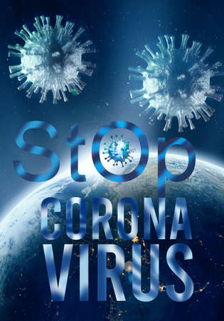 Abstract 3d rendering illustration for stop COVID-19 disease from spreading globally.