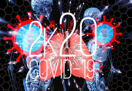 3D rendering illustration of 2020 coronavirus attack inside a human skeleton Zdjęcie Seryjne
