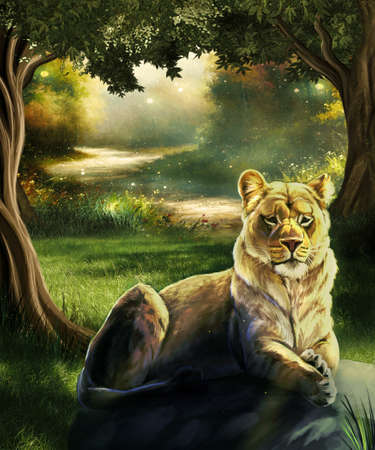 Artistic abstract 3d rendering digital paint illustration of a lion setting on a rock in a forest filled with trees Zdjęcie Seryjne